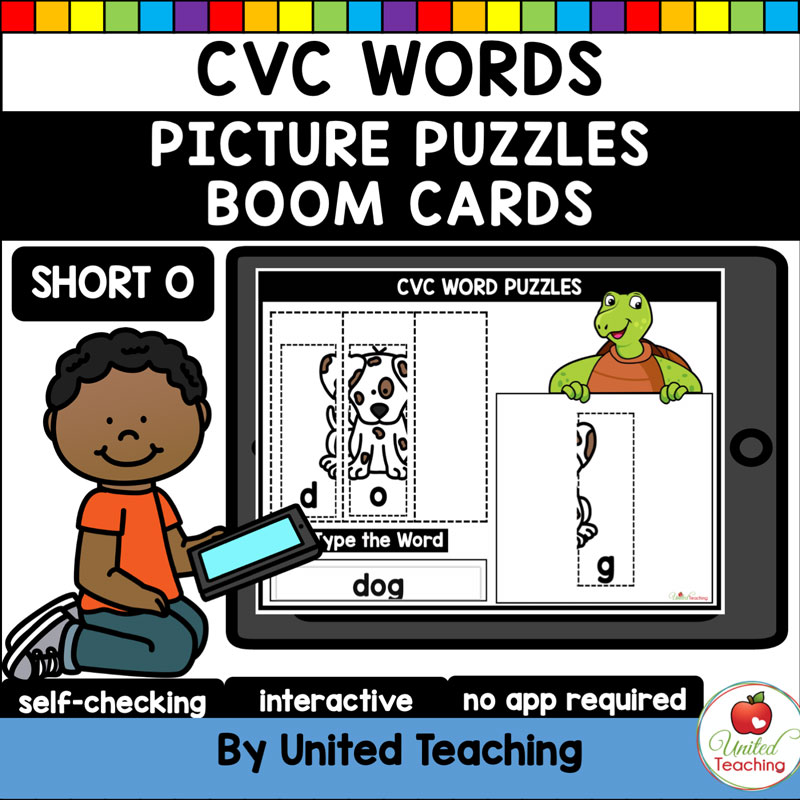 CVC Words Picture Puzzles Short O Boom Cards