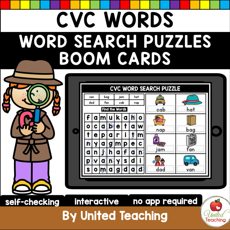 CVC Words Word Search Boom Cards