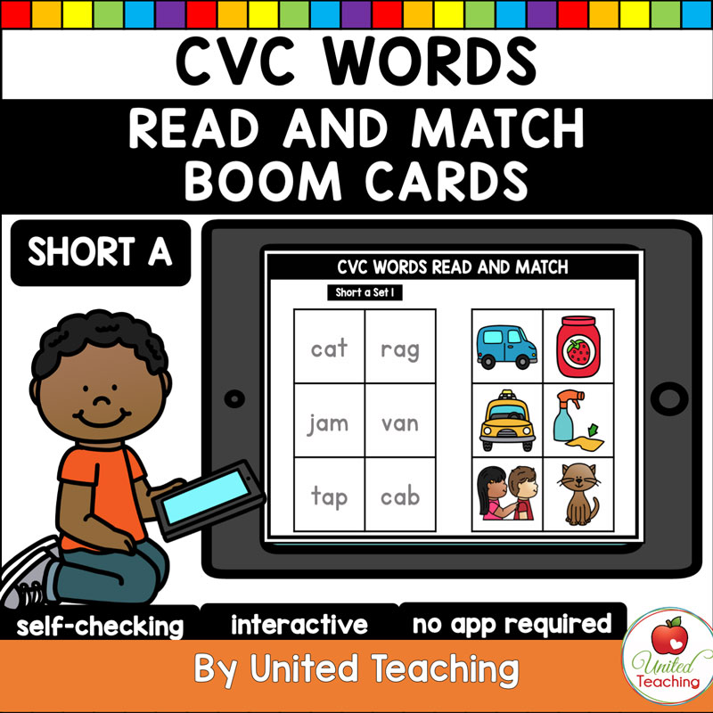 CVC Words Read and Match Boom Cards