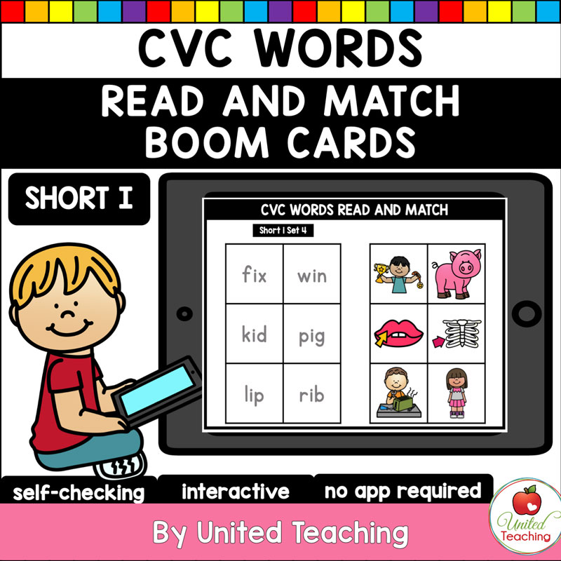 CVC Words Read and Match Short I Boom Cards