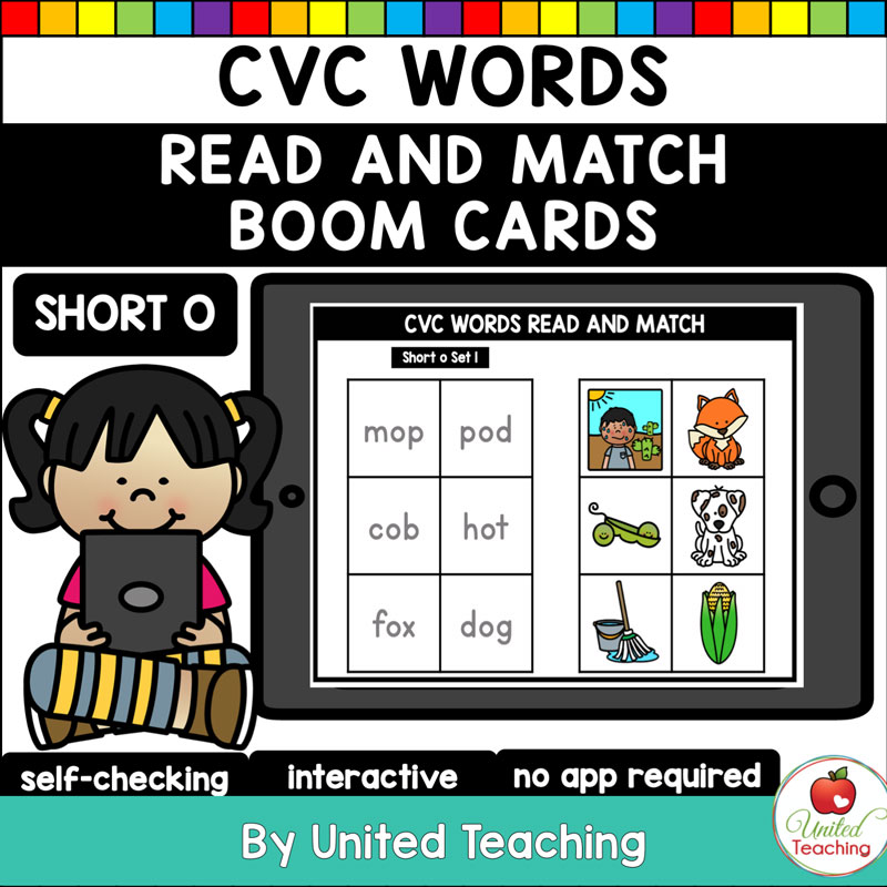 CVC Words Read and Match Short O Boom Cards
