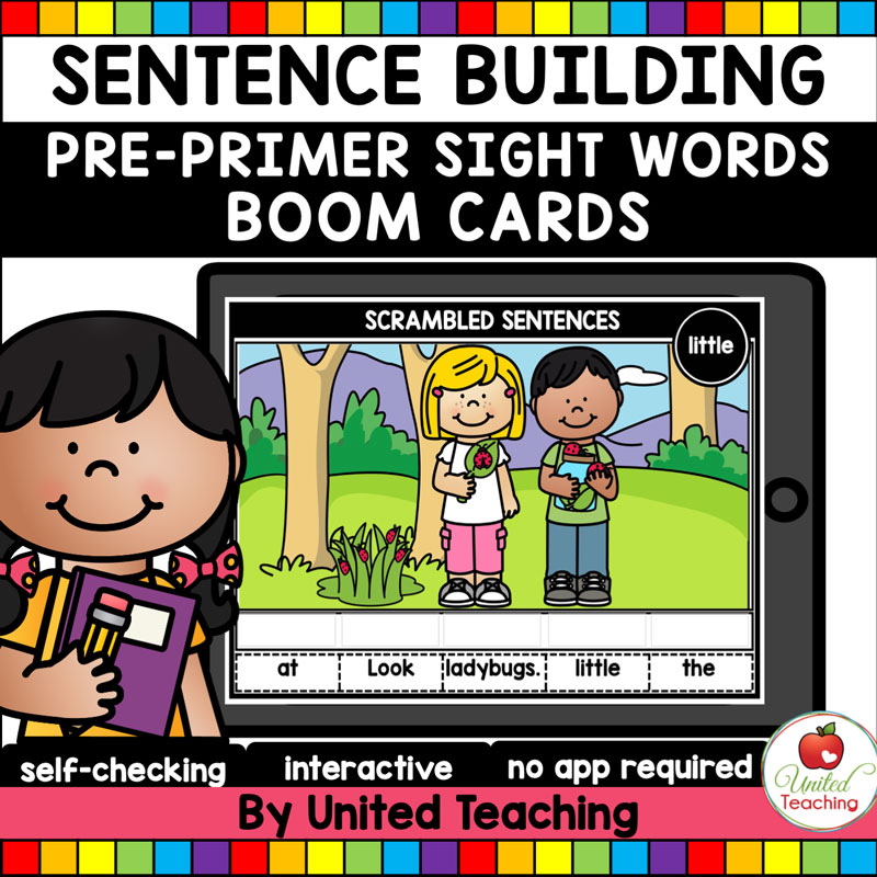 Sentence Building Pre-Primer Sight Words Boom Cards