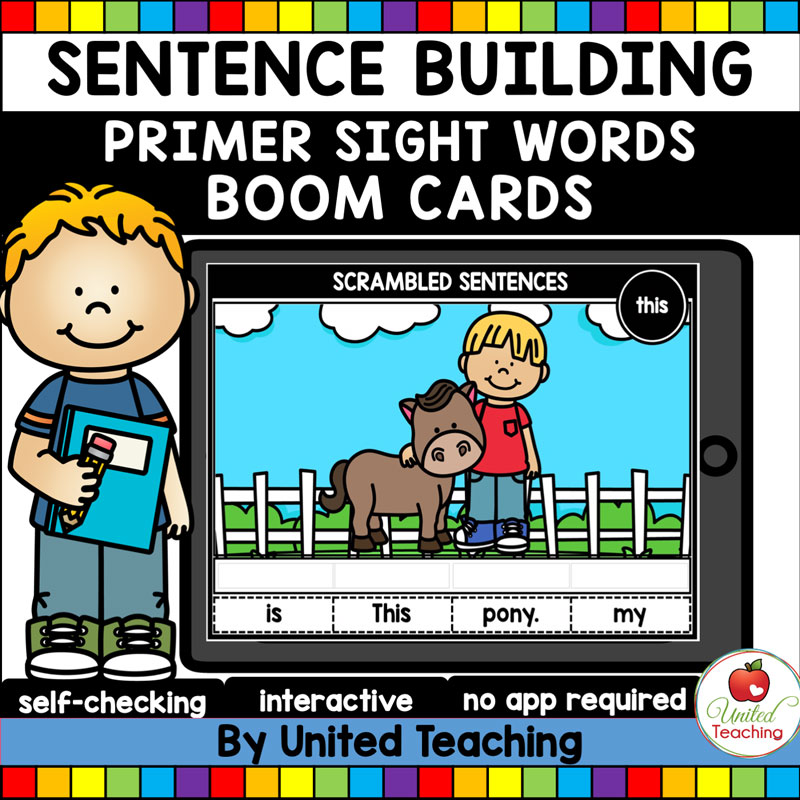 Sentence Building Primer Sight Words Boom Cards