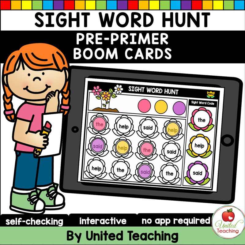 Sight Words Hunt (Pre-Primer) Boom Cards