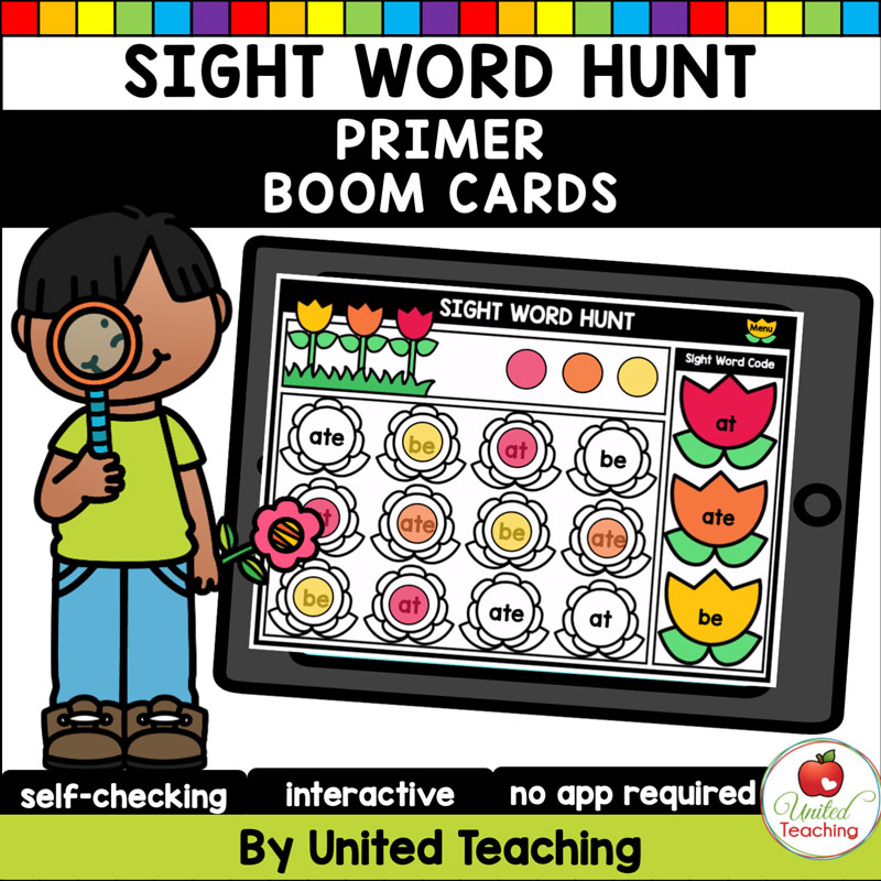 Sight Word Hunt (Primer) Boom Cards