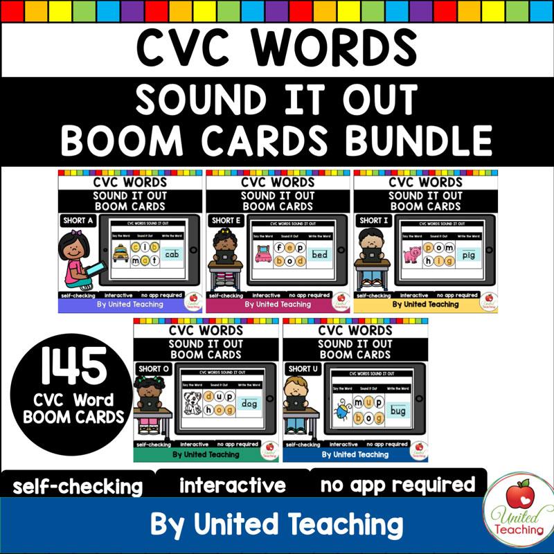 CVC Words Sound It Out Boom Cards Bundle