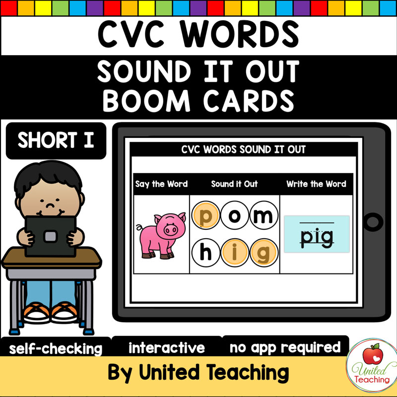 CVC Words Sound It Out Short I Boom Cards