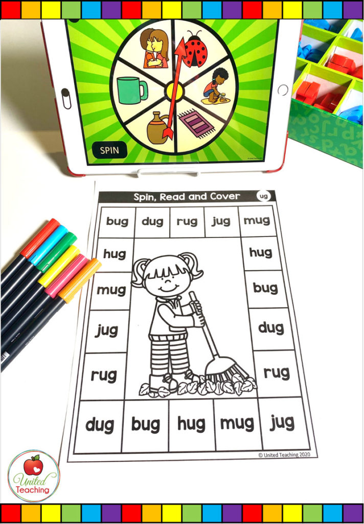 CVC Word Family Digital Spinner and Spin, Read and Cover Worksheet