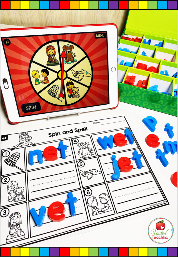 CVC Word Family Digital Spinner and Worksheet