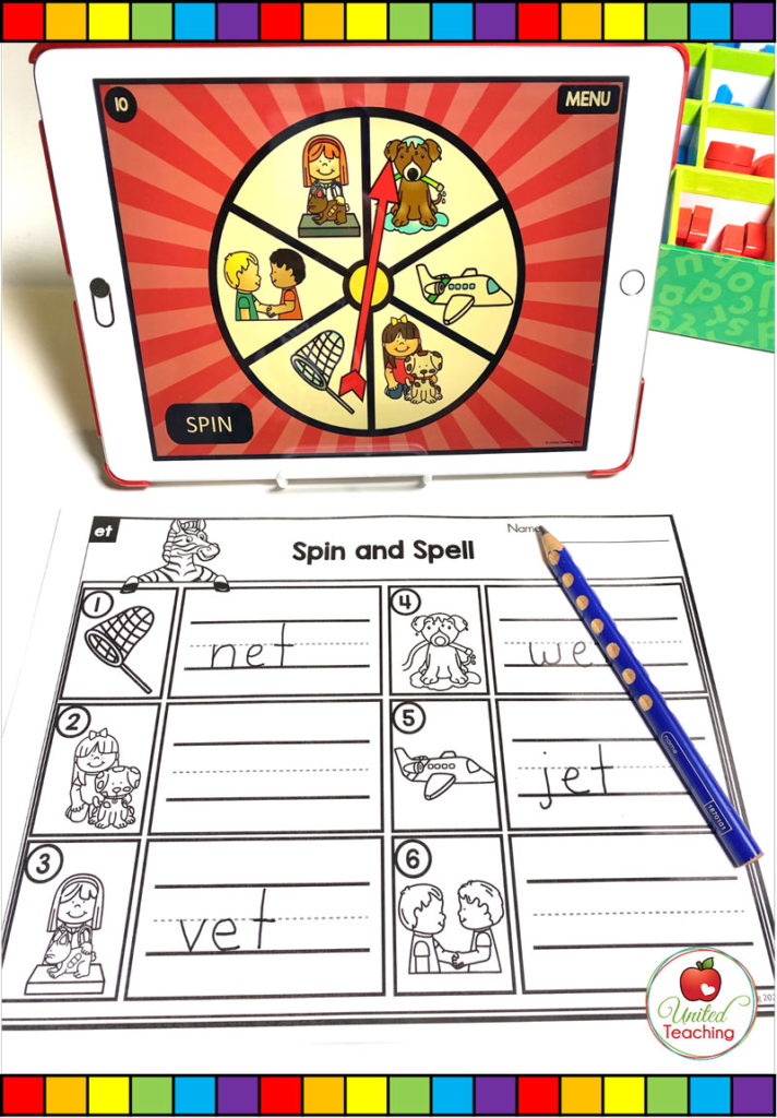 CVC Word Family Digital Spinner and Accountability Worksheet