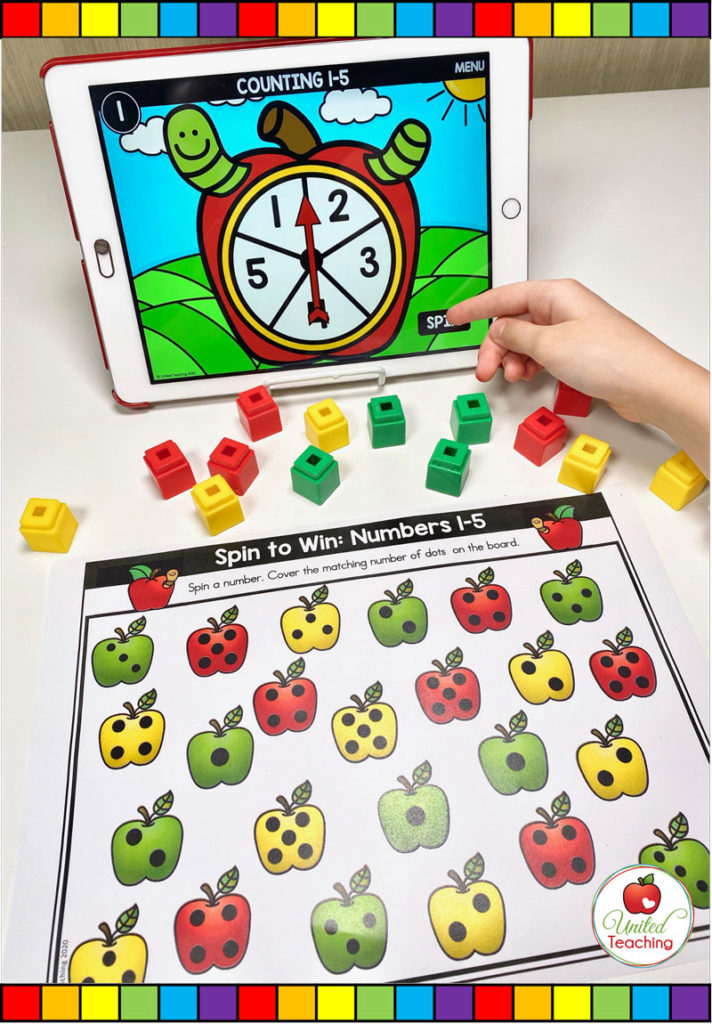 Subitizing Dots 1-5 with Digital Spinner Game