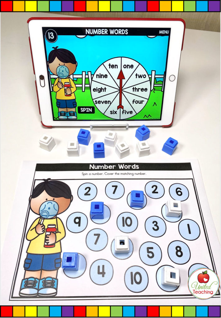 Number Words with Digital Spinner Game