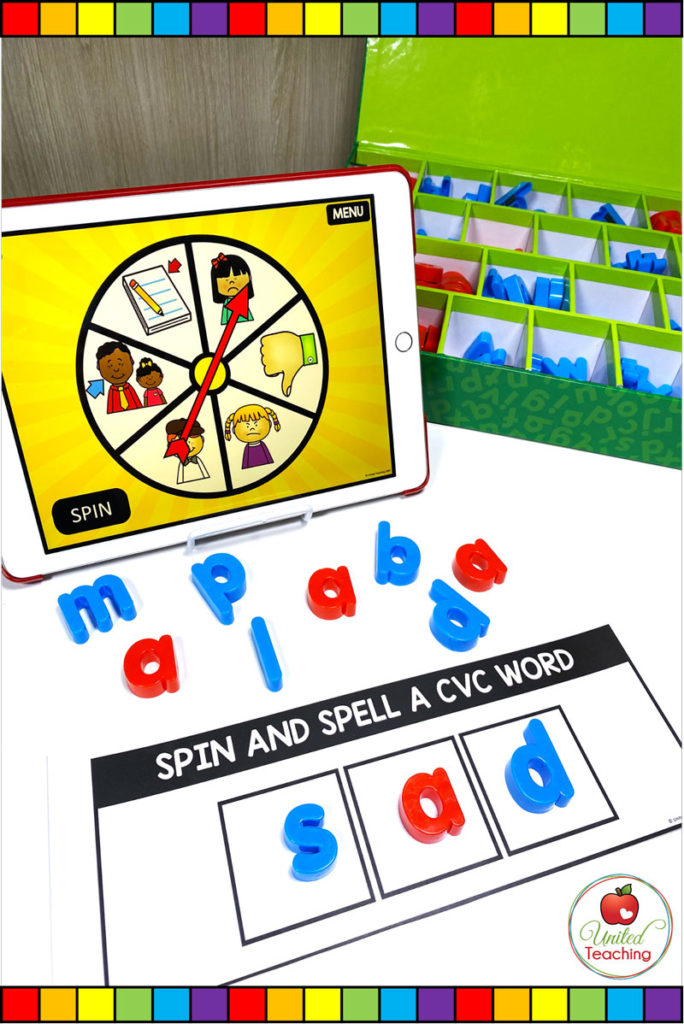CVC Word Family Digital Spinner and Word Building Mat