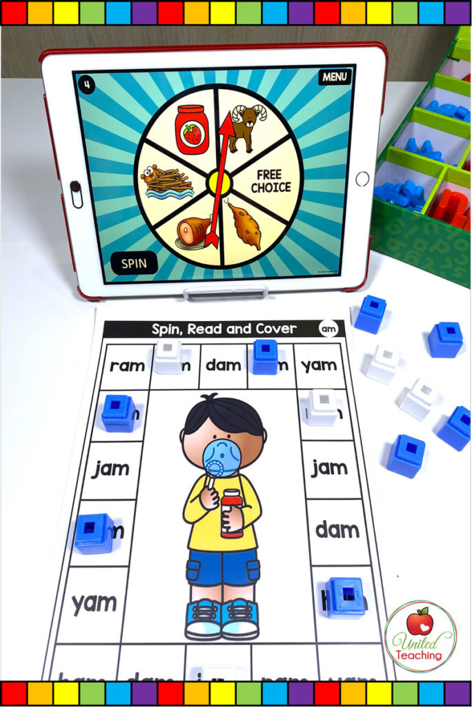 CVC Word Family Digital Spinner and Spin, Read and Cover Game