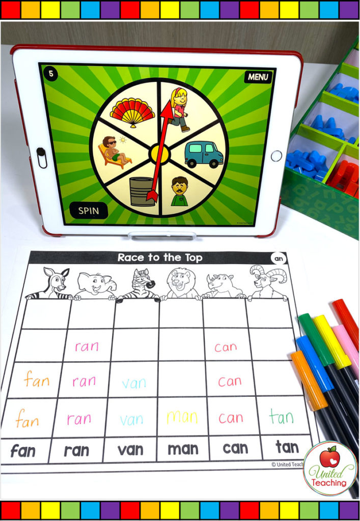 CVC Word Family Digital Spinner and Race to the Top Worksheet