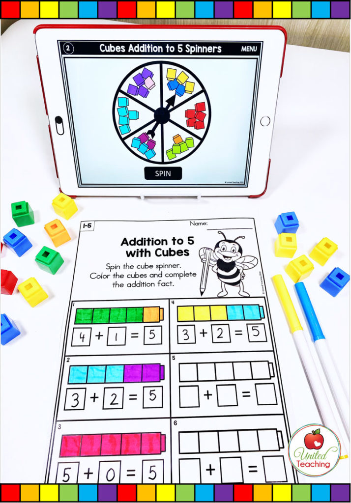 Addition to 5 Math Activity with Digital Spinner