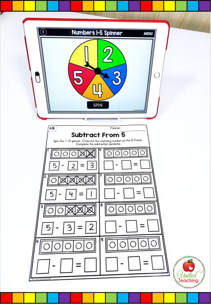 Subtraction from 5 with Digital Spinner Math Activity