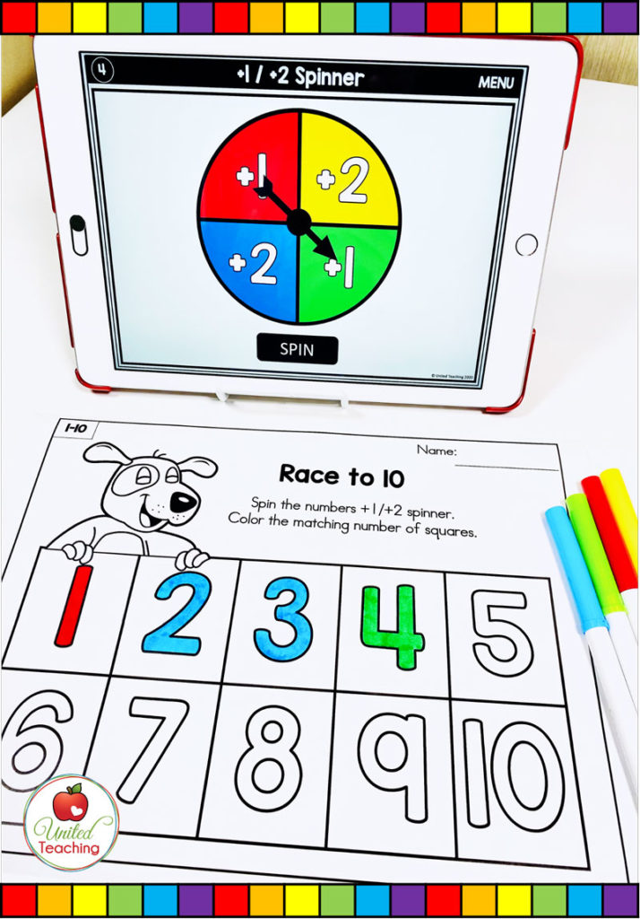 Race to 10 Math Game with Digital Spinner