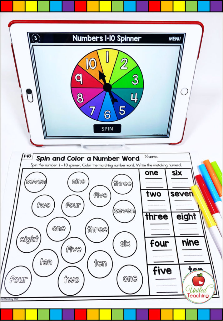 Number Word to 10 Math Activity with Digital Spinner