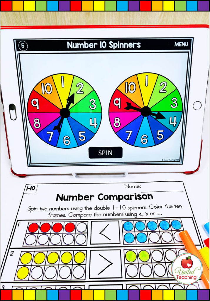 Comparing Numbers to 10 Math Activity with Digital Spinner