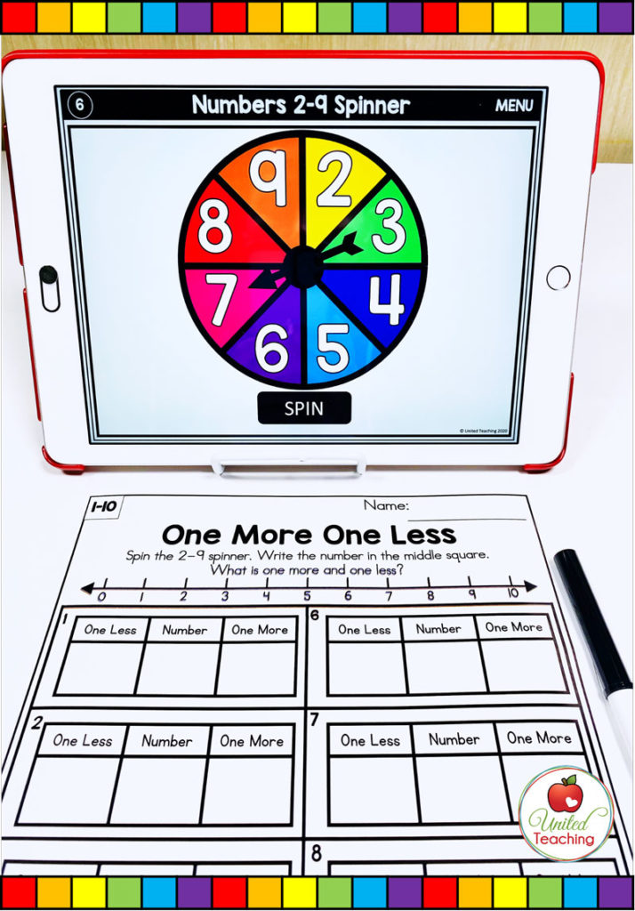 One More and One Less Math Activity with Digital Spinner