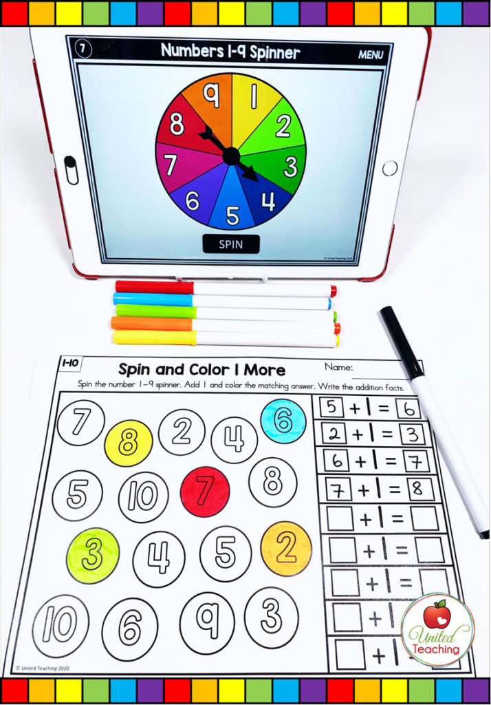 One More Addition Activity with Digital Spinner