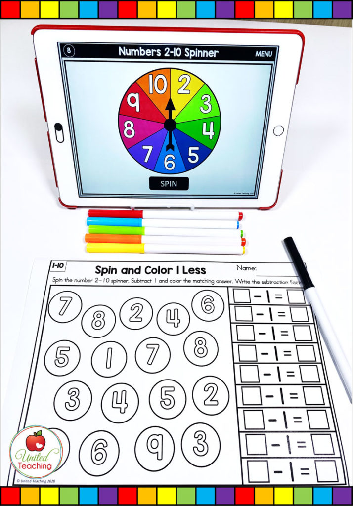 One Less Subtraction Activity with Digital Spinner
