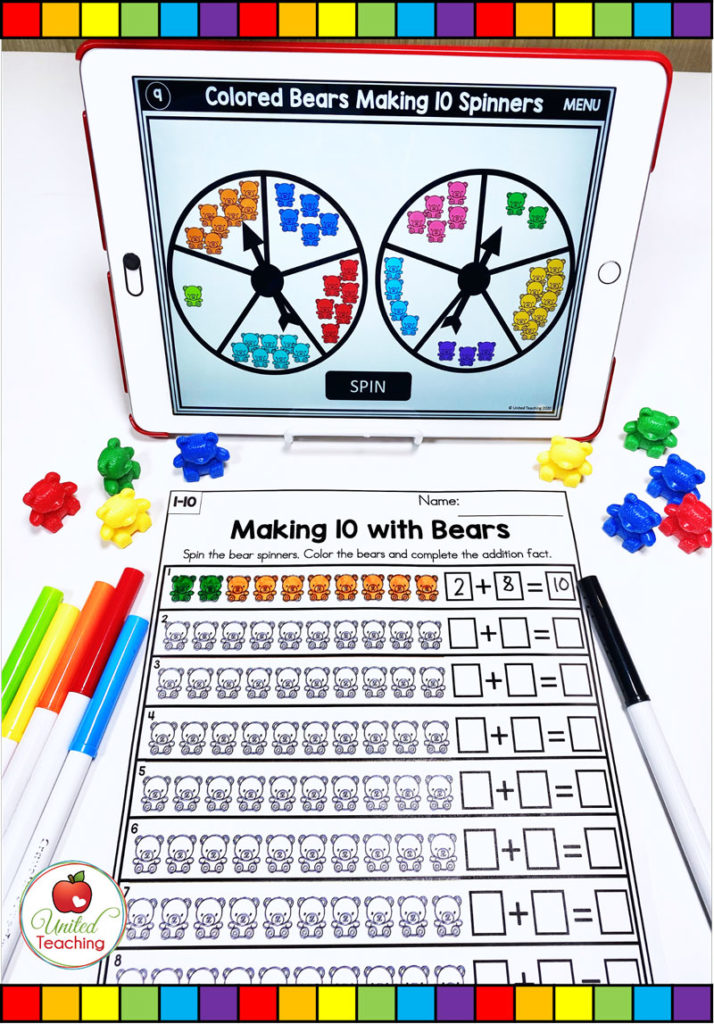 Making 10 with Bear Counters Digital Spinner