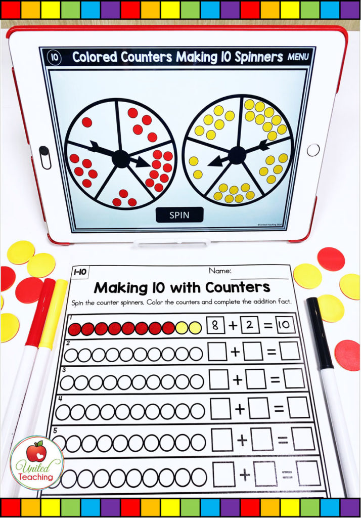 Making 10 with math counters digital spinner