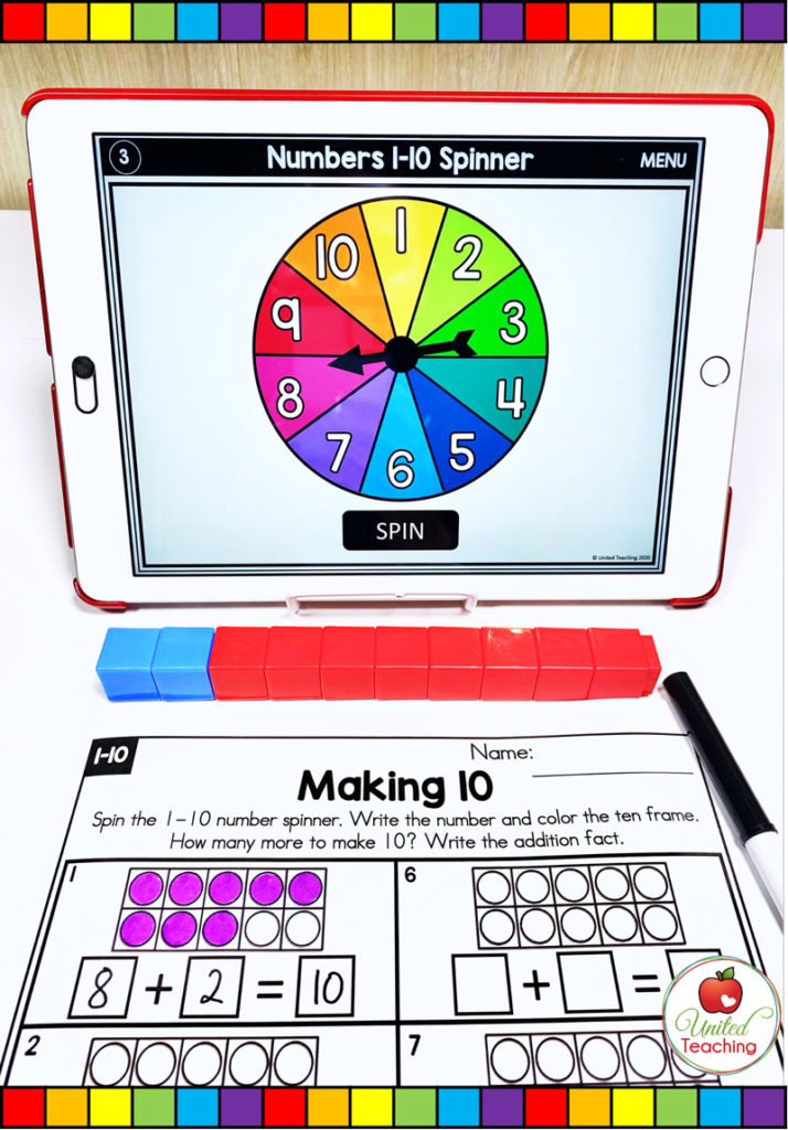 Making 10 with Ten Frames and Digital Spinner
