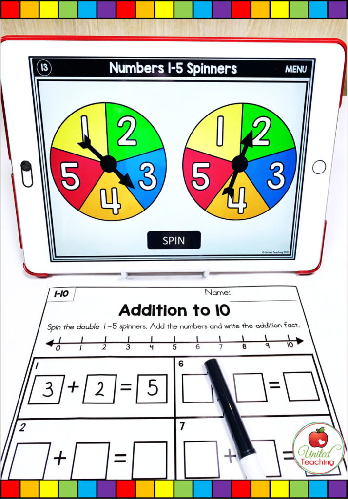 Addition to 10 with a Number Line and Digital Spinner