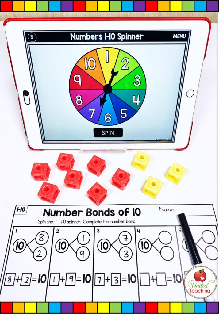 Number Bonds of 10 with Digital Spinner