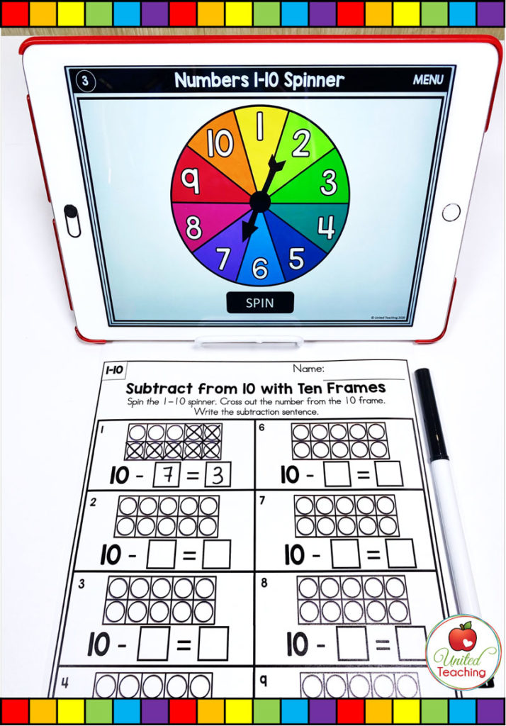 Subtraction from 10 with Digital Spinner