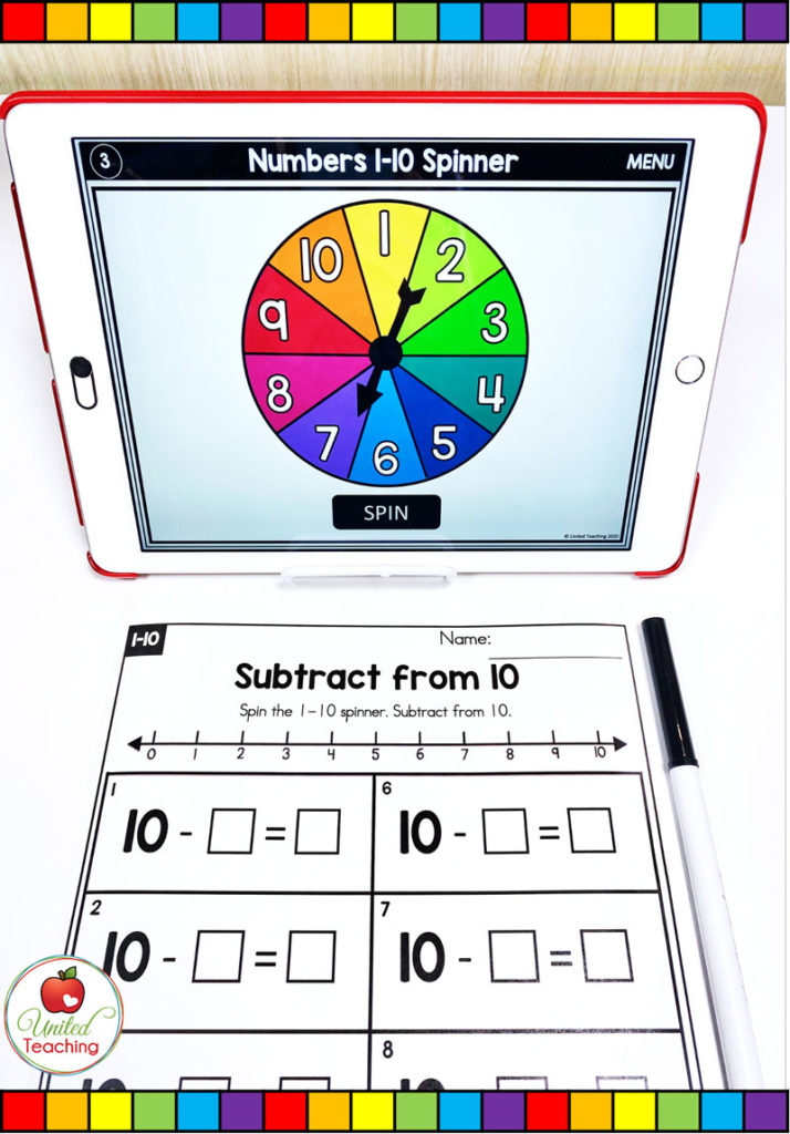 Subtraction from 10 with Number Line and Digital Spinner