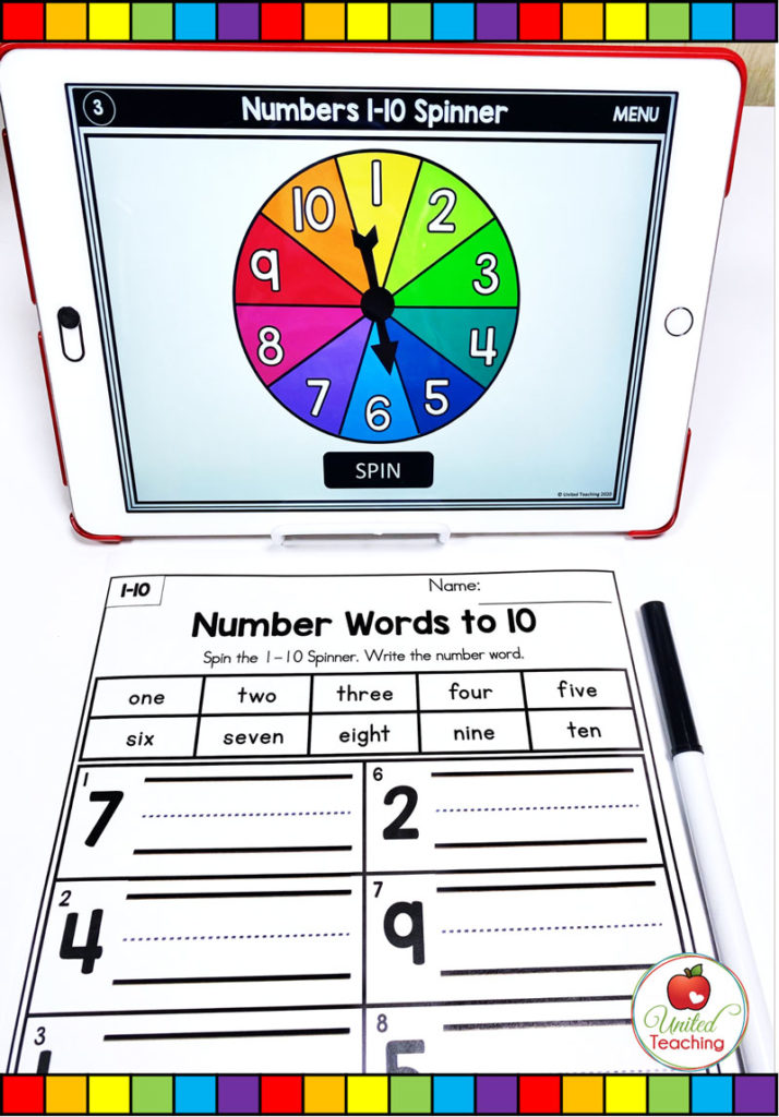 Number Words to 10 with Digital Spinner