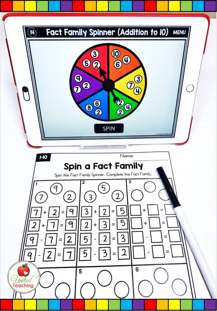 Fact Family Activity with Digital Spinner