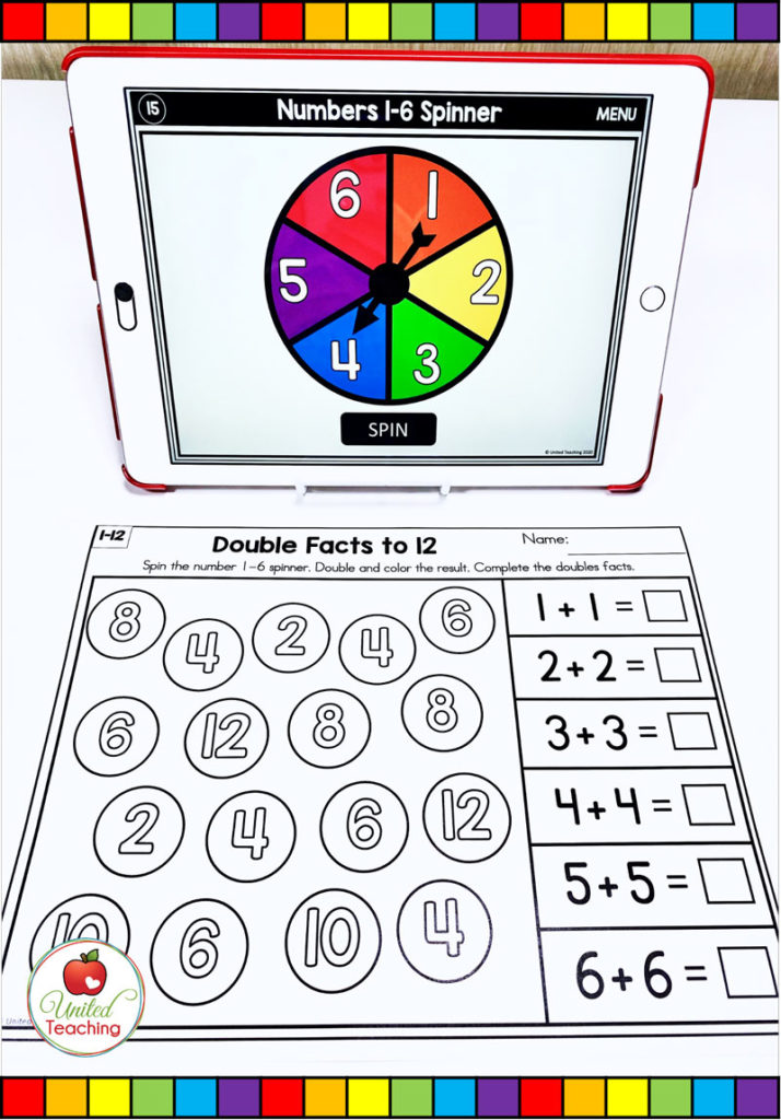 Double Facts  to 12 with Digital Spinner