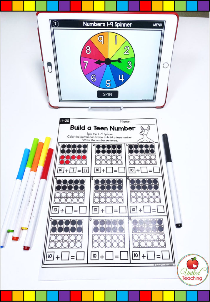 Build a Teen Number activity with digital spinner