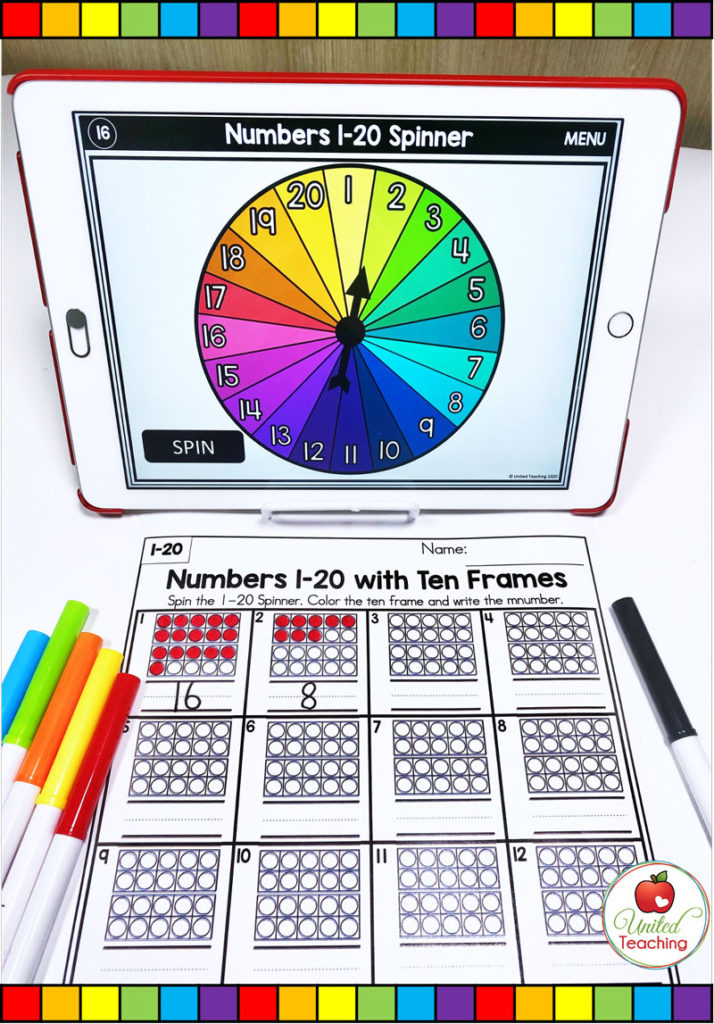 Numbers 1-20 with Ten Frames activity with digital spinner