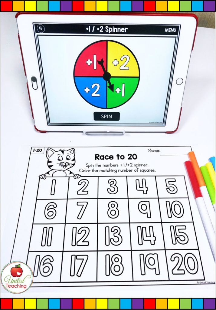 Race to 20 Math Game with digital spinner