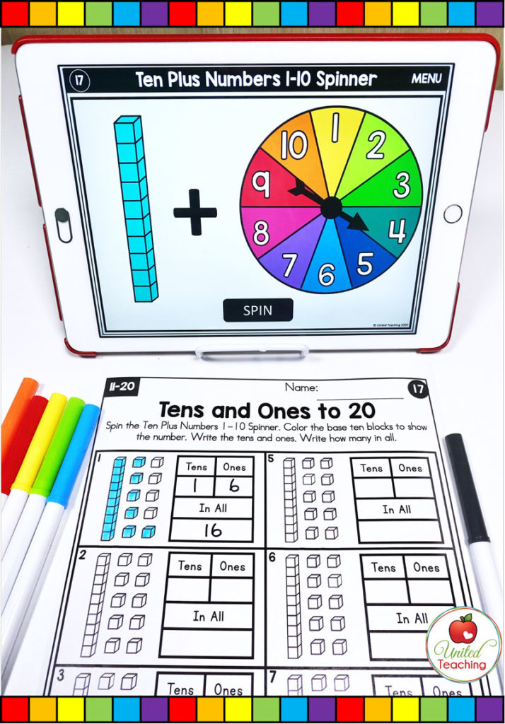 Tens and Ones to 20 with digital spinner activity