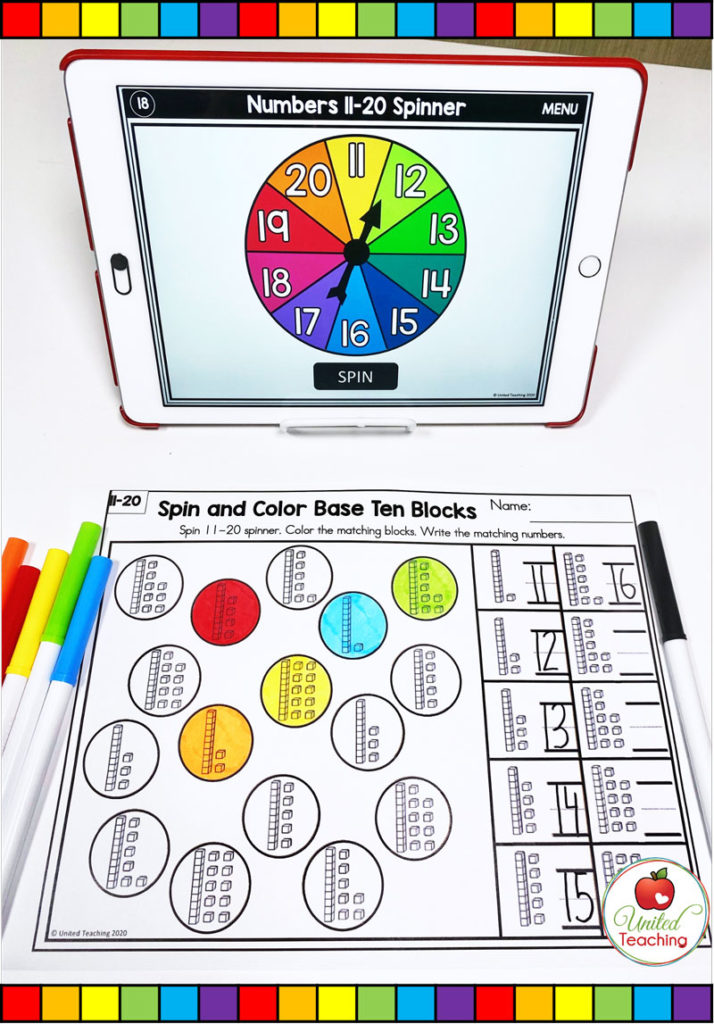 Spin and Color Base Ten Blocks with Digital Spinner activity