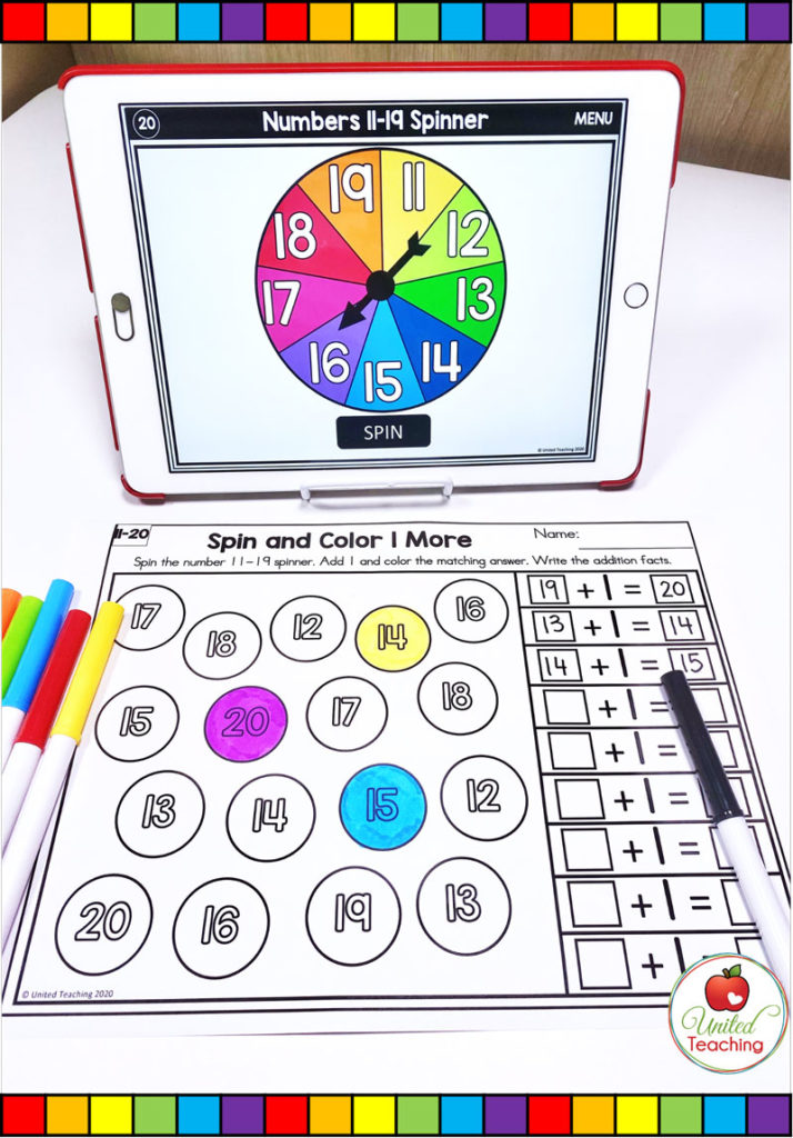 Spin and Color 1 More math activity with digital spinner