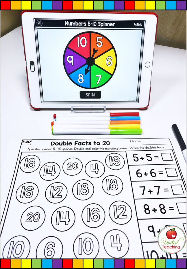 Doubles Facts to 20 with Digital Spinner Math Activity