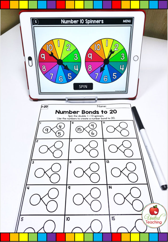 Number Bonds to 20 with digital spinner math activity