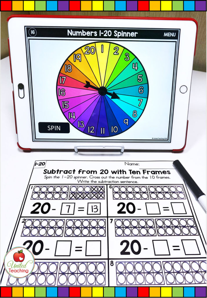 Subtraction from 20 with ten frames and digital spinner math activity