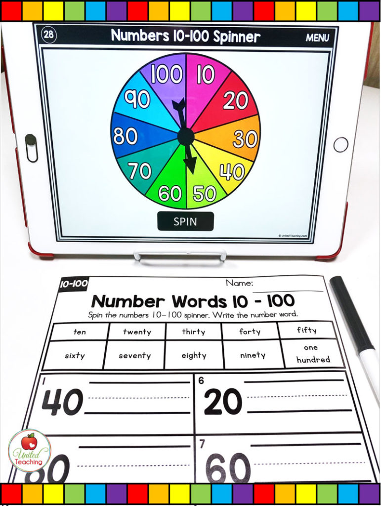 Number Words Math Activity with Digital Spinners
