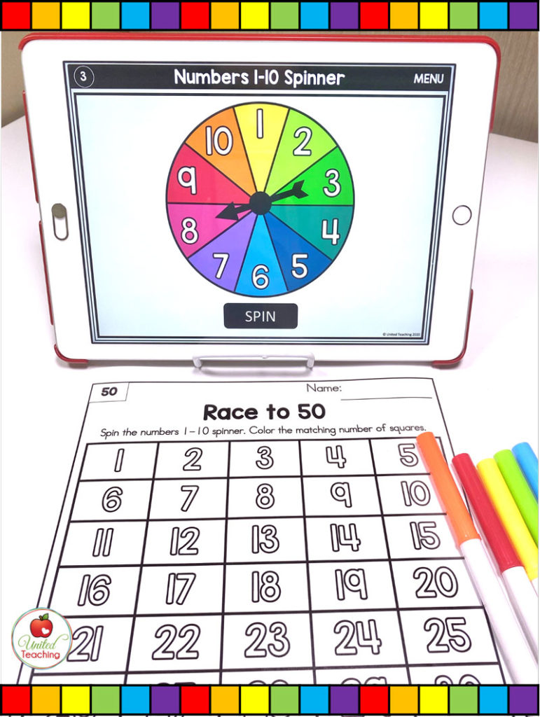 Numbers 1-50 Race Math Game with Digital Spinners