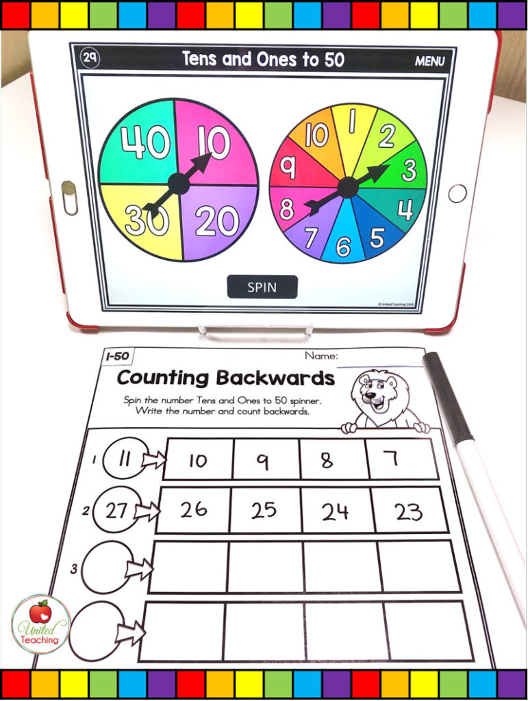 Counting Backward Math Activity with Digital Spinners
