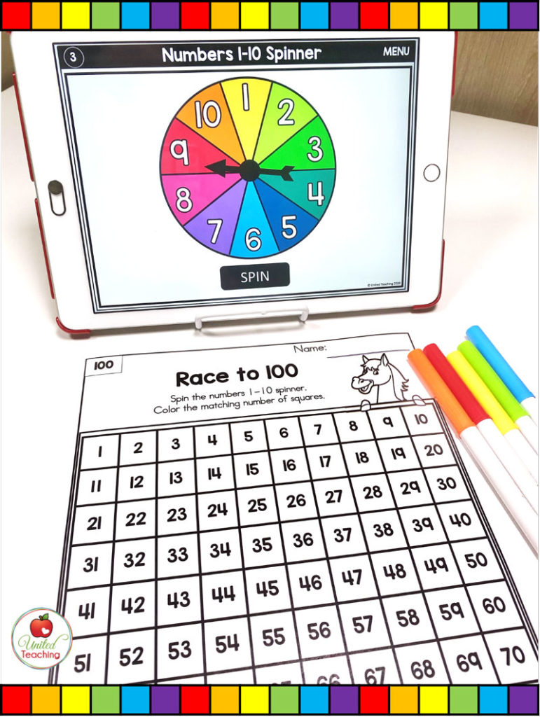 Numbers 1-100 Race Math Game with Digital Spinners